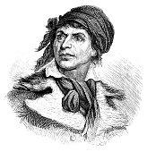 illustration portrait jeanpaul marat french revolutionary