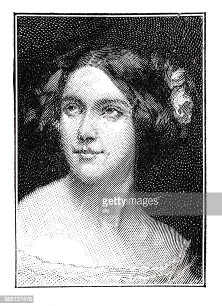 portrait of jenny lind , swedish opera singer, 1820-1887 - history stock illustrations, clip art, cartoons, & icons