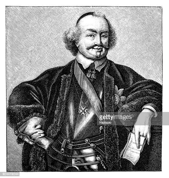 ilustrações, clipart, desenhos animados e ícones de retrato de john maurice, príncipe de nassau-siegen - ilhas maurício