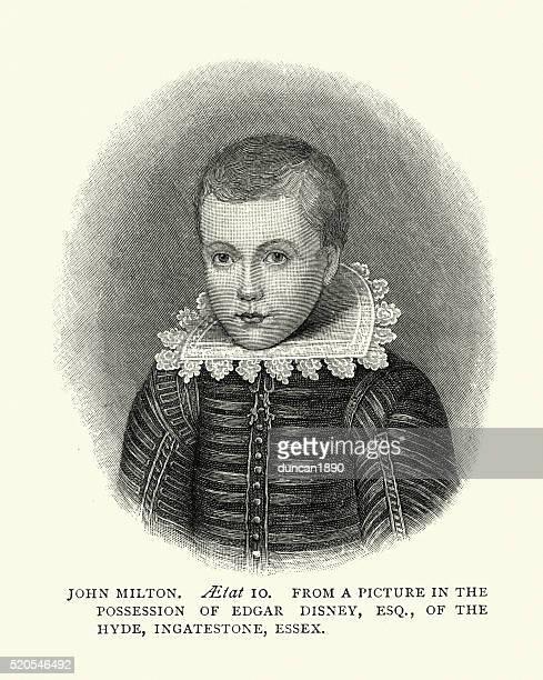 portrait of john milton - john milton stock illustrations, clip art, cartoons, & icons