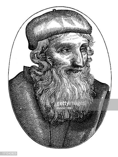 portrait of john wycliffe - circa 14th century stock illustrations, clip art, cartoons, & icons