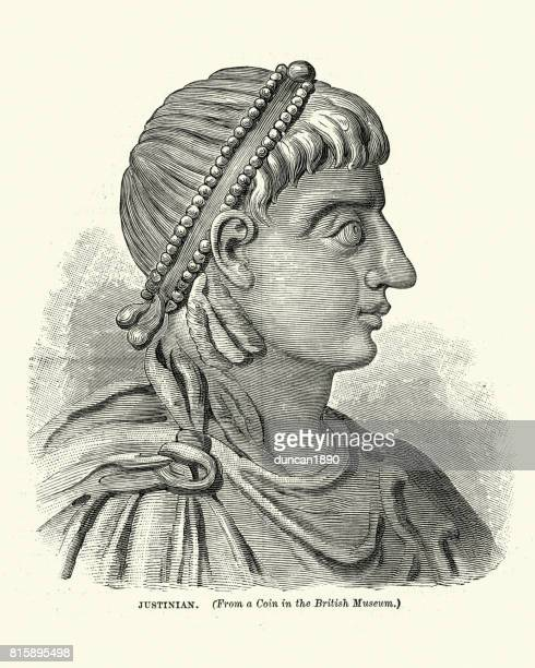 portrait of justinian i - byzantine emperor - byzantine stock illustrations