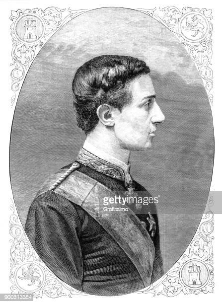 portrait of king alfonso xii of spain 1875 - alfonso xii of spain stock illustrations