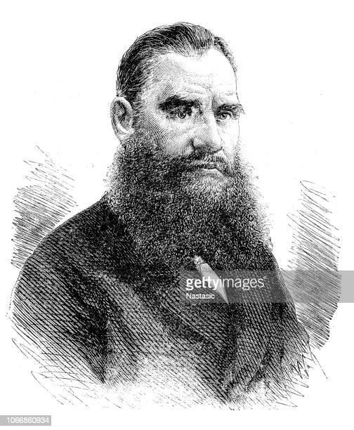 portrait of leo tolstoy - leo tolstoy stock illustrations