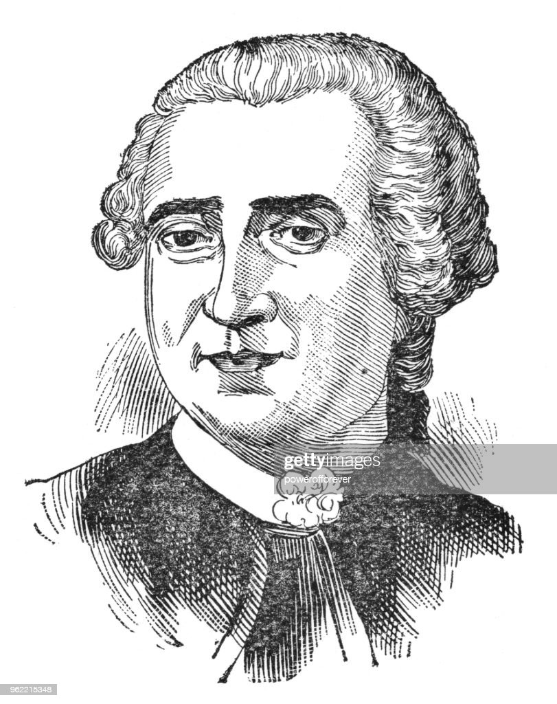 Portrait of Louis-Joseph de Montcalm - 19th Century : Stock Illustration