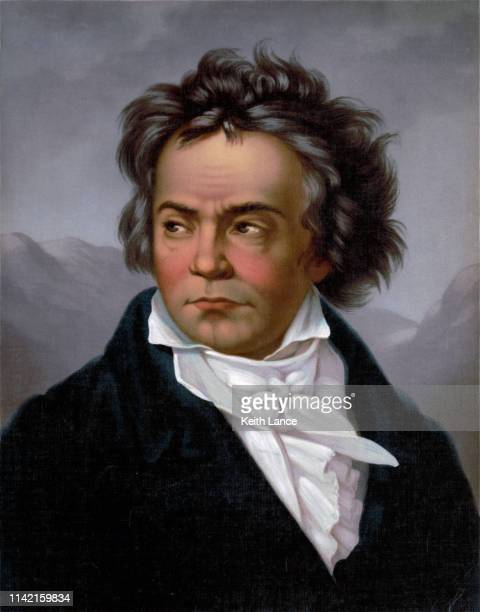 portrait of ludwig van beethoven - classical stock illustrations