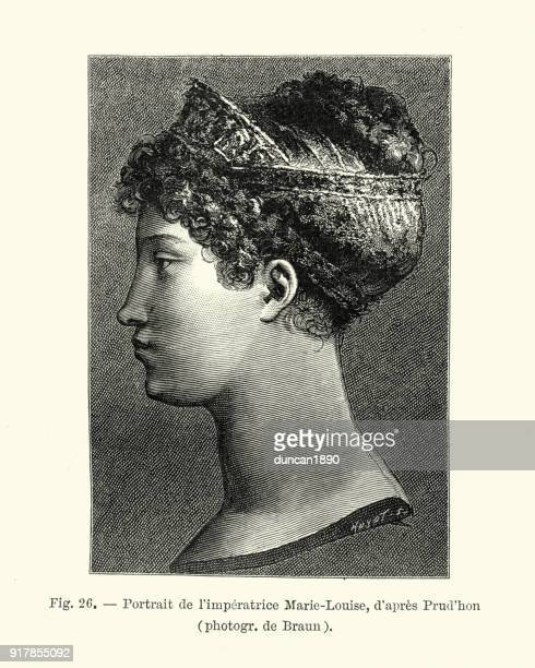portrait of marie louise, duchess of parma, empress of france - head of state stock illustrations