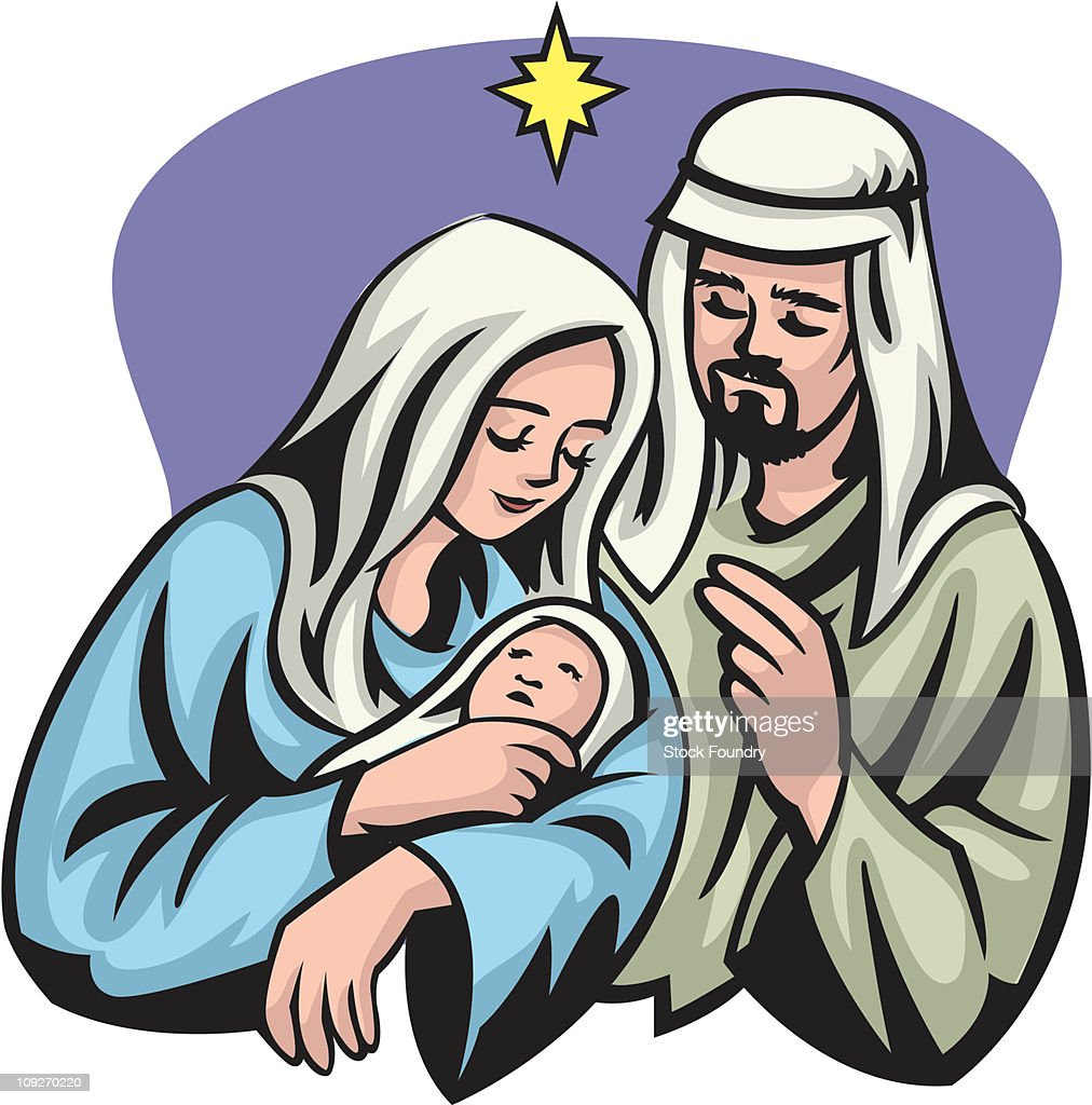 a portrait of mary joseph and jesus under the star of bethlehem rh gettyimages com mary and joseph donkey clipart mary joseph and baby jesus clipart