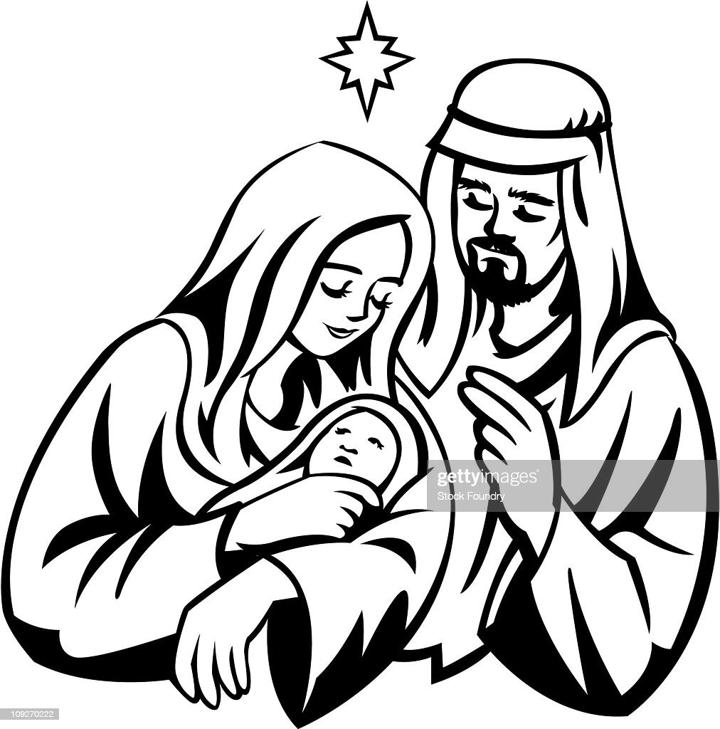 a portrait of mary joseph and jesus under the star of bethlehem rh gettyimages com Nativity Clip Art Shepherd's and Angels Clip Art