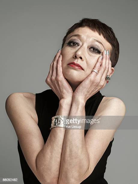 a portrait of mature woman. - headshot stock illustrations