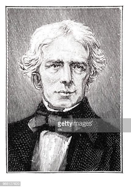 portrait of michael faraday,  british scientist, 1791-1867 - michael faraday stock illustrations, clip art, cartoons, & icons