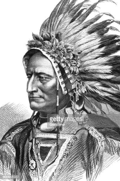 portrait of native american tribal chief sitting bull 1875 - indigenous north american culture stock illustrations, clip art, cartoons, & icons
