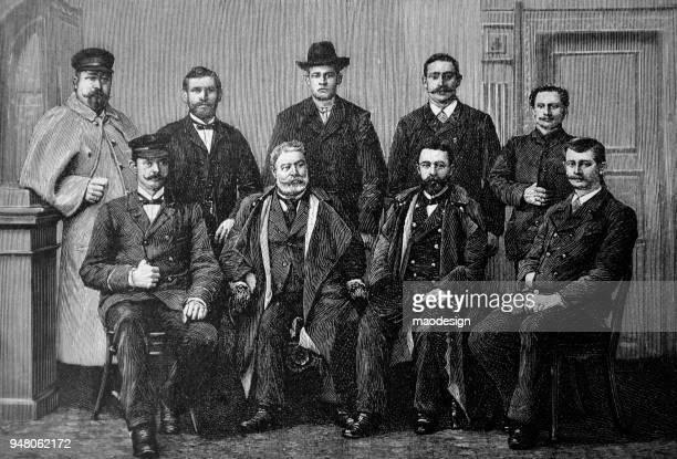 illustrations, cliparts, dessins animés et icônes de portrait de neuf hommes avec intéressant moustaches _ 1895 - coiffeur humour
