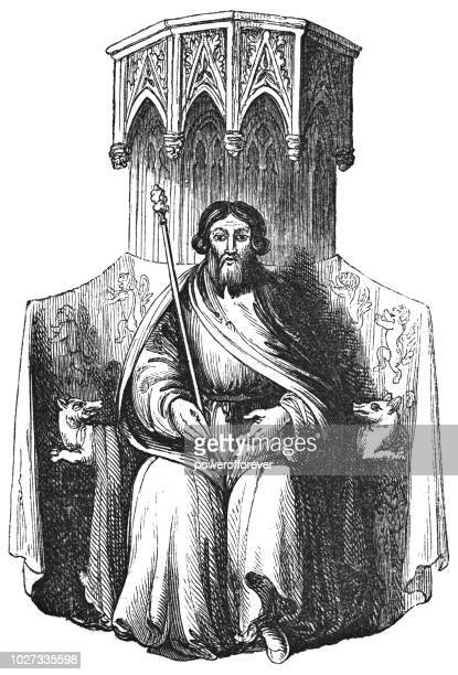 portrait of owain glyndŵr from his great seal - great seal stock illustrations, clip art, cartoons, & icons