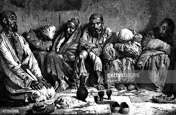 portrait of people from southern-eastern russia - opium stock illustrations