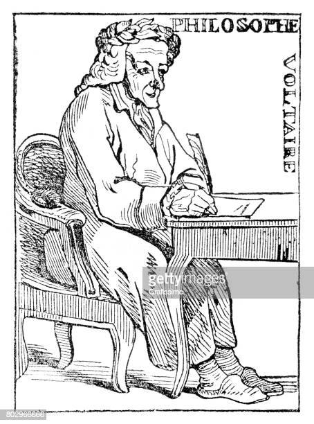 Portrait of philosopher and writer Voltaire from 1835