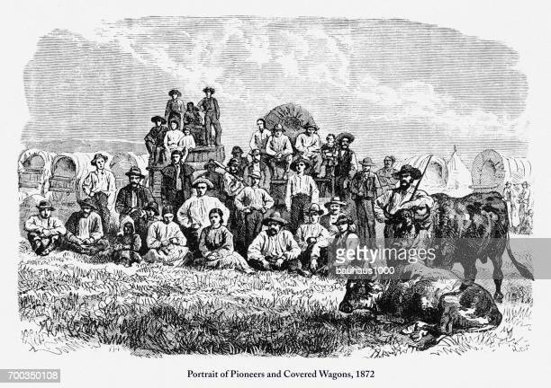 portrait of pioneers and covered wagons, early american engraving, 1872 - horse cart stock illustrations, clip art, cartoons, & icons