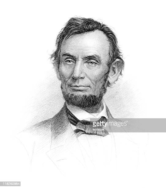 portrait of president abraham lincoln - president stock illustrations, clip art, cartoons, & icons