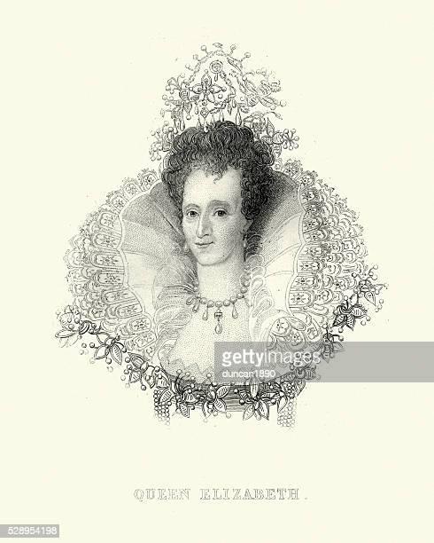 portrait of queen elizabeth i - 16th century style stock illustrations