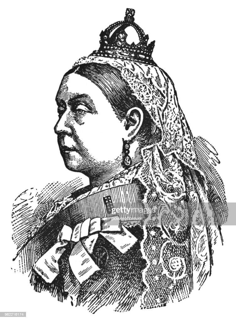 Portrait of Queen Victoria - 19th Century : Stock Illustration