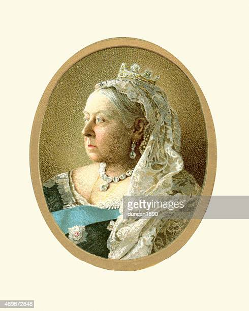 portrait of queen victoria - queen royal person stock illustrations, clip art, cartoons, & icons