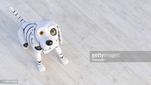 portrait of robot dog sitting on wooden floor, 3d rendering - automated stock illustrations