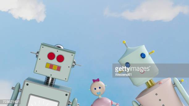 Portrait of robot family outdoors, 3d rendering