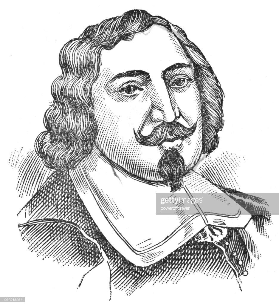 Portrait of Samuel de Champlain - 19th Century : Stock Illustration