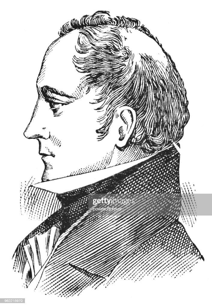 Portrait of Sir George Simpson - 19th Century : Stock Illustration