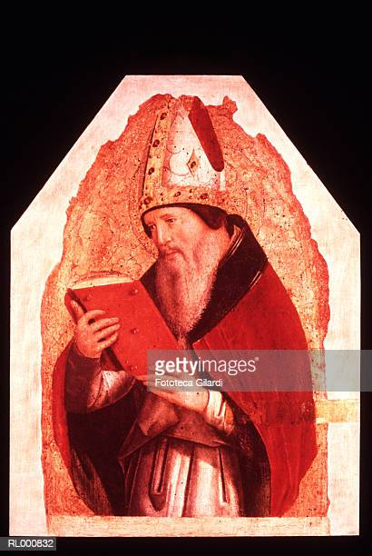 portrait of st. augustine c. 1472 - bishop clergy stock illustrations, clip art, cartoons, & icons