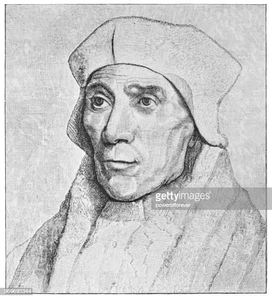ilustrações, clipart, desenhos animados e ícones de retrato de st john fisher, bispo de rochester, por hans holbein, o jovem - século xvi - bishop clergy