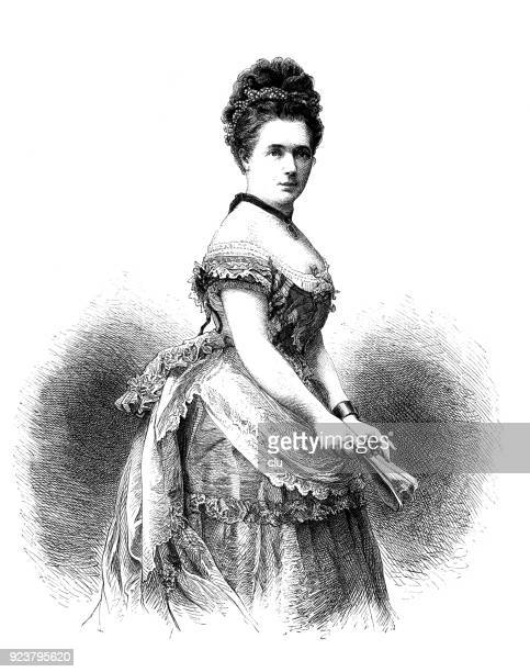 portrait of the stage actress friederike goßmann - actor stock illustrations, clip art, cartoons, & icons