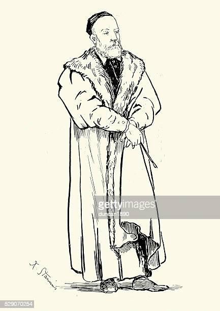 portrait of titian - tiziano vecellio stock illustrations, clip art, cartoons, & icons