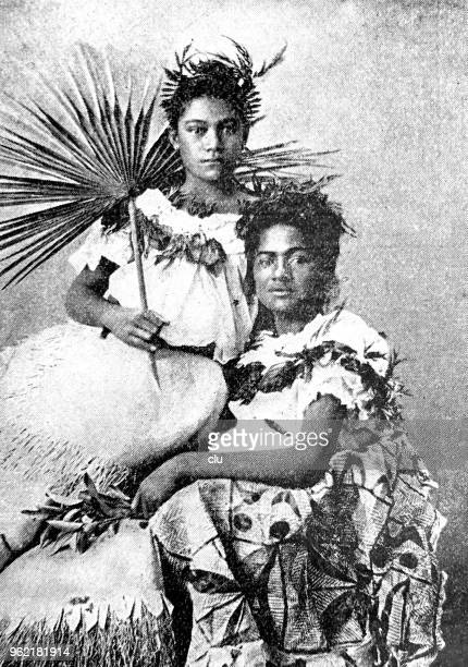 portrait of two african woman - samoa stock illustrations, clip art, cartoons, & icons