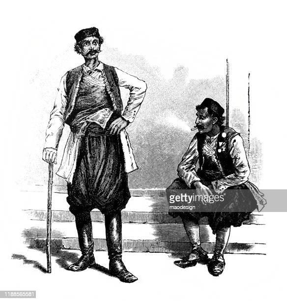 ilustrações, clipart, desenhos animados e ícones de retrato de dois homens árabes - 1887