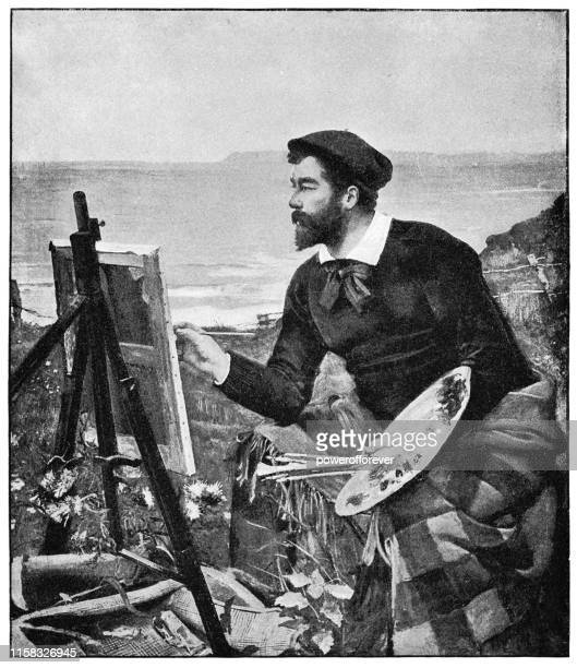 porträt von ulysses butin von ernest ange duez - 19. jahrhundert - künstlerischer beruf stock-grafiken, -clipart, -cartoons und -symbole
