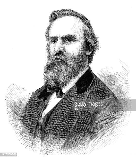 portrait of us president rutherford b. hayes - president stock illustrations, clip art, cartoons, & icons