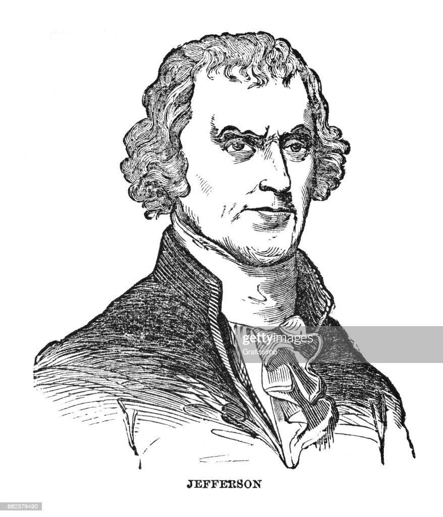 Portrait of US president Thomas Jefferson 1873 : stock illustration