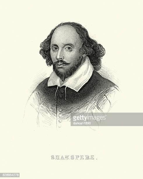 portrait of william shakespeare - william shakespeare stock illustrations, clip art, cartoons, & icons