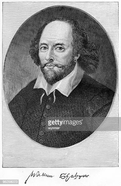 a portrait of william shakespeare in pen and ink - william shakespeare stock illustrations, clip art, cartoons, & icons