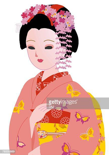 portrait of woman in japanese style clothing, japan - only japanese stock illustrations, clip art, cartoons, & icons