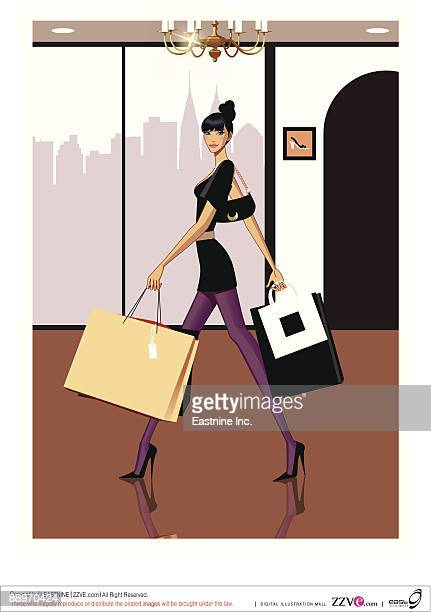 portrait of young woman carrying shopping bags - updo stock illustrations, clip art, cartoons, & icons