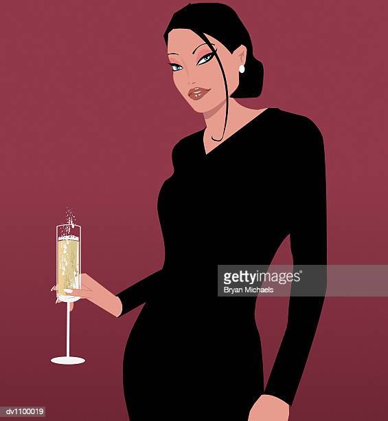 portrait of young woman holding a glass of champagne - updo stock illustrations, clip art, cartoons, & icons