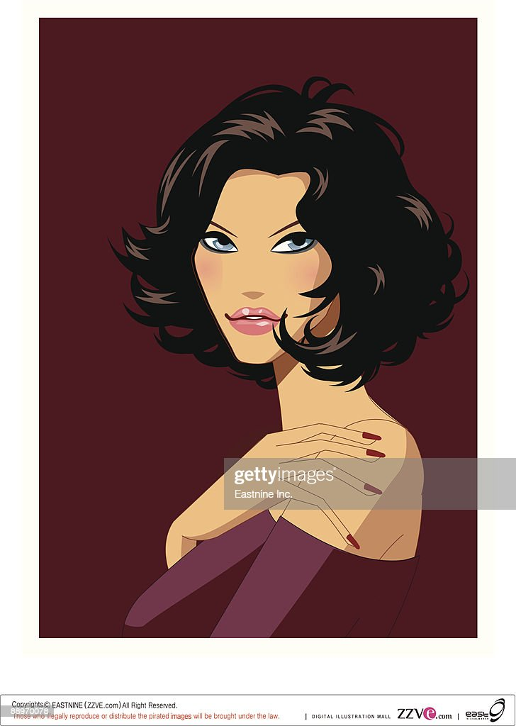 Portrait of young woman : stock illustration