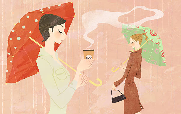 Portrait of young woman in the rain holding umbrella and a takeaway coffee