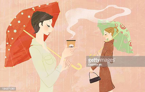 portrait of young woman in the rain holding umbrella and a takeaway coffee - monsoon stock illustrations, clip art, cartoons, & icons