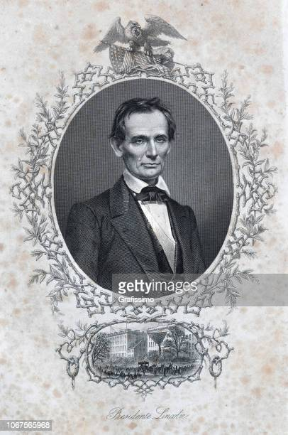 portrait us president abraham lincoln 1870 illustration - president stock illustrations, clip art, cartoons, & icons