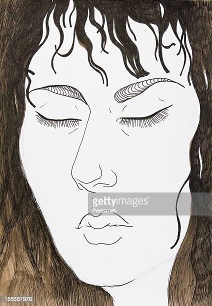 ilustraciones, imágenes clip art, dibujos animados e iconos de stock de retrato con los ojos cerrados - mujeres de mediana edad