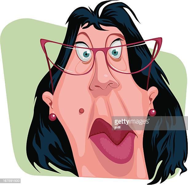 portrait_clerk - ugliness stock illustrations, clip art, cartoons, & icons