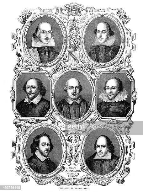portraits of william shakespeare - william shakespeare stock illustrations, clip art, cartoons, & icons